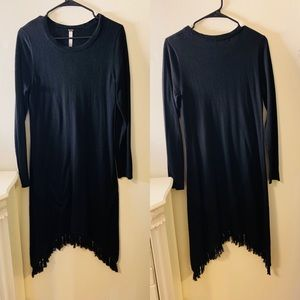 ALL BLACK DRESS // COTTON WITH FRINGES